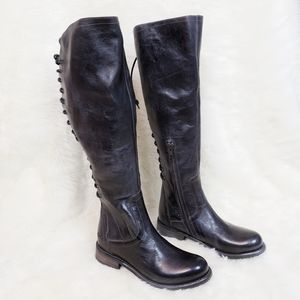 Bed Stu Surrey Tall Riding Boots Black Rustic Blue